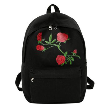 2017 Embroidery Rose Women Backpacks Preppy Chic Canvas Lady Backpack Flower Embroidery Large Capacity School Backpack Mochila