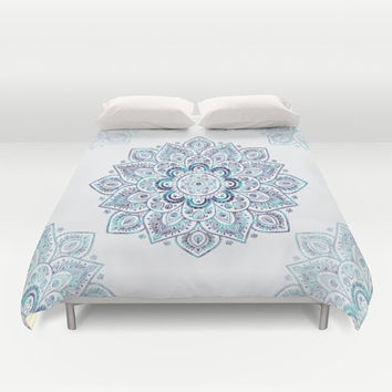 Duvet Cover - 4 different sizes, Without Insert, Bedroom, Home decor, Teal, Turquoise, With or Without Shams, Blue, Abstract, Boho, Mandala