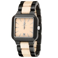 MEKU Mens Wooden Wrist Watches Natural Wood Watches with Date Clendar Valentine Gift Giving,Black / Beige