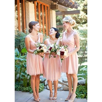 2017 Cheap Short Bridesmaid Dresses Pink V-neck Backless Ruched Maid of the Honor Dresses Chiffon Wedding Party Gowns B121