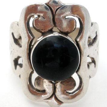 Mexican Black Onyx Ring Size 9 Vintage