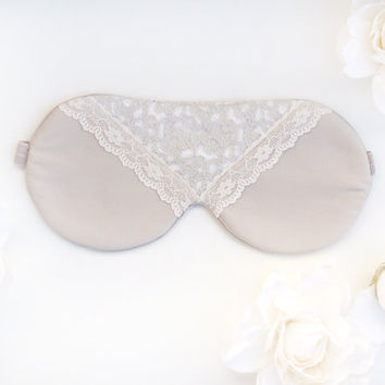 Lace Mask, Satin Lace Mask, Satin Mask, Beige Mask, Bridal Gift, Gift for her, Lace Sleep Mask