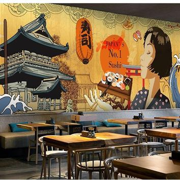 3d mural background Japanese Ukiyo-shi Pilgrims Retro Nostalgic Restaurant Seamless Mural Cooking Sushi Footwear Club Wallpapers