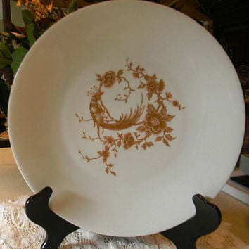 French Limoges Plate Chinoiserie  Plate Peacock and Asian Flowers with Gilding French Style