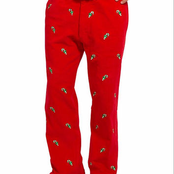 Beachcomber Corduroy Pant Bright Red With Candy Cane
