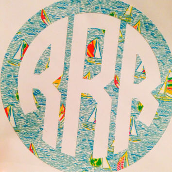 Lilly Pulitzer Inspired Monogram Decal Sticker NEW PRINTS