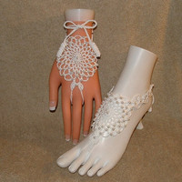 Crochet Wedding Barefoot Sandals Lacy Pearls Foot Jewelry Hand Jewelry Bridal Shoes Footwear