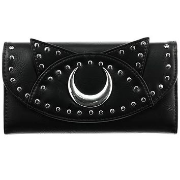 Moon Cat Withcy cat Black Faux Leather Tri-Fold wallet