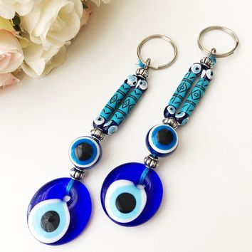 Evil eye keychain, boho keyring, turkish evil eye bag charm, hamsa keychain