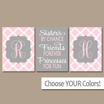 SISTERS Wall Art, Quote Decor, Shared Girl Bedroom Pictures, Monogram Decor, By Chance Friends Forever Princess, CANVAS or Print, Set of 3
