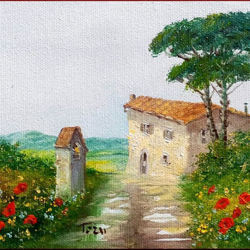 "Little Italian painting ""Tuscany landscape n1"" original of Luciano Torsi - Dipinto pittore Italiano"