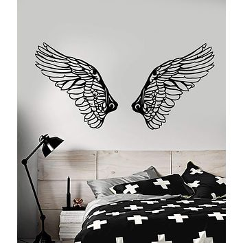 Vinyl Wall Decal Angel Wings Feathers Bird Room Decoration Stickers (2415ig)
