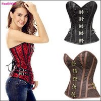 Women's Fashion Sexy Corset Top Steampunk Gothic Costuming Steel Boned Waist Training Corsets Bustier Red Black Brown Corselet Overbust Espartilho