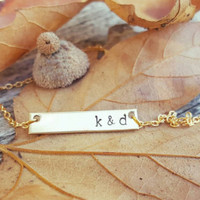 Personalized Gold Bar, Couples Initials Gold Horizontal Bar Necklace, Hand Stamped, Custom Gift, Bridal, Wife Girlfriend, Dainty
