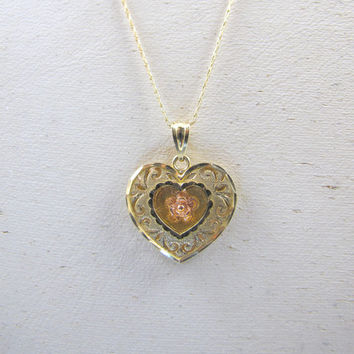 10K Krementz Heart Necklace Pendant, Vintage Tri Color Rose Yellow Gold Heart Jewelry, 10K Van Dell Chain, Layered Etched Pierced Heart