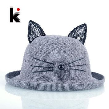 PEAP78W Summer Straw Hat With Cute Cat Ears For Women Wide Brim Beach Hats Headgear For Girls Casual Sun cap Chapeau Paille Feminino