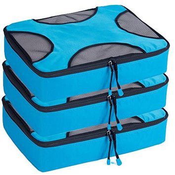 "3 Piece Packing Cubes Travel Organizer Luggage Compression Pouches for Suitcase 13.75""X12.7""X4"" Blue"