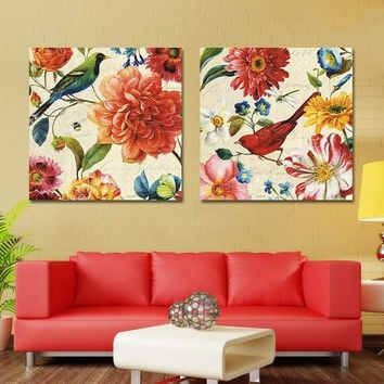 Flower Canvas Pictures for Bedroom Flower Painting Wall Art Picture Home Decoration Wall Art Canvas Unframed Oil Painting 2 Pcs