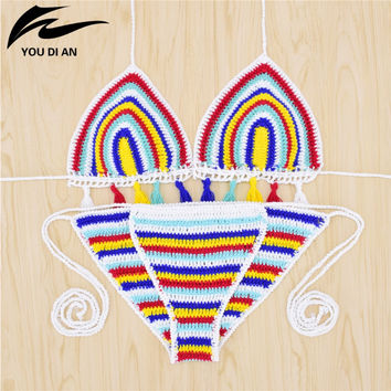 Sexy Handmade Crochet Bikini women crochet Swimsuit Brazilian biquini 2017 Crochet Swimwear Bathing Suit hot sale beach suit