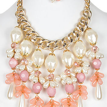 CHUNKY PEARLFECTION FLORAL STATEMENT NECKLACE SET