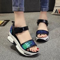 Fashion Women Bling Sandals Summer Beach Shoes Women Platform Sandals Slides Open Toe Sandalias Trifle High-heeled Women Shoes