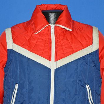 80s Nylon Zipper Sleeves Skiing Vest Jacket Medium