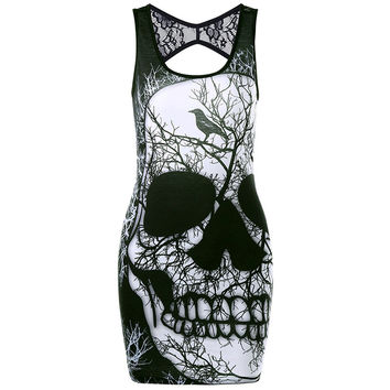 Women Summer Dress Skull Print Mini Lace Dress Backless Hollow Out Sexy Dresses Black Punk Style