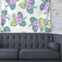 "Sylvia Cook ""Tropical Flowers"" Green Pink Floral Nature Watercolor Digital Wall Tapestry"