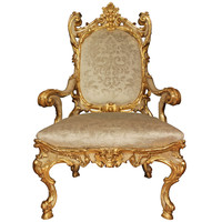 Italian 18th Century Louis XV Period Patinated and Giltwood Armchair à Chassis