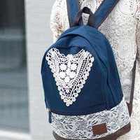 Crochet Lace Canvas Backpack for Women from alanchen