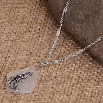 White Sea Glass With Mermaid Charm Necklace