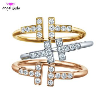 CZ Crystal Infinity Rings for Women Inlays Crystal Anillos Double Open T Dainty Adjustable  Jewelry Minimalist Anello Taki