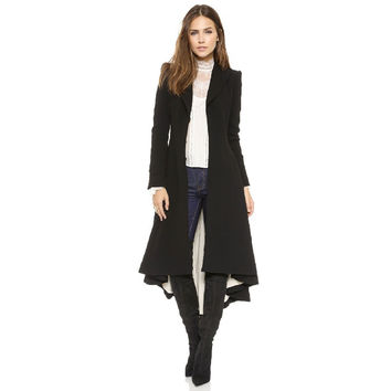 2016 Autumn New Women Long Coat Hidden Breasted Black Suit Loose Blazer Jacket Womens Tuxedo Plus Size Ladies Outerwear CT117
