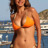 Orange and Gold Tonga Tie Sexy Bikini