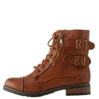 Cognac Combat Booties with Buckles & Zippers by Charlotte Russe