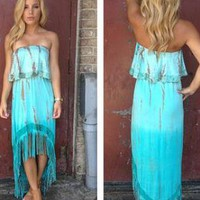 Blue Strapless Tie Dye Print Hi-Low Dress with Fringe Detail