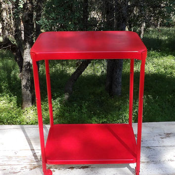 Bar Cart Serving Cart Tea Coffee Station Barcart Rolling Storage Red Shelf Entertaining Decor Dining Table Mid Century Modern Living Room