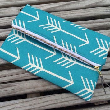 Turquoise Arrow Foldover Clutch