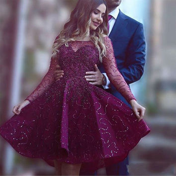 Long Sleeves Chiffon Cocktail Dresses 2017 Scoop Sequins Beaded Satin A-Line Mini Prom Dresses Dark Puple Short Party Dresses