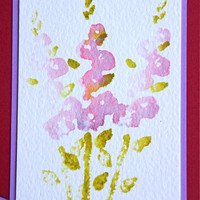 Birthday Card with Hollyhocks, Stamped Watercolor Image, Handmade Red and Purple Notecard, Happy Birthday, Watercolor Greeting Card