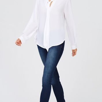 Delegating Authority Long Sleeve V Neck Tie Blouse Top - 5 Colors Available