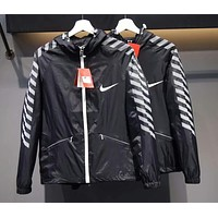 NIKE 2018 men and women couple models casual reflective windproof jacket F-CY-MN Black