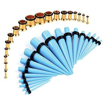 BodyJ4You Gauges Kit Blue Tapers Gold Plugs Steel 14G-00G Stretching Set 36 Pieces