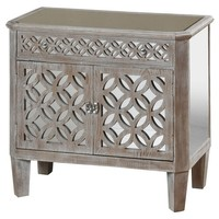 Distressed Wood 2 Door Chest with Mirrored Accents and 1 Drawer Flanked By Filigree - Grey - Stylecraft