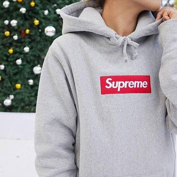 Supreme Casual Letter Print Long Sleeve Hoodie Pullover Sweatshirt Top Sweater F