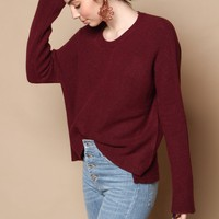 Cozy Draped Sweater - Wine