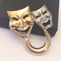 Comedy Tragedy Mask Brooch Theatre Brooch Vintage Jewelry