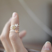 Cat's Meow ||| One Sterling Silver Kitty Cat Stack Ring - Brass / Copper or Sterling Silver Cat Ring - Handcrafted Love cat