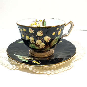 Antique Aynsley Tea Cup, Black, Lily of the Valley, Art Deco, Crocus Shape, Red Beads, Yellow, English Bone China, 1930s