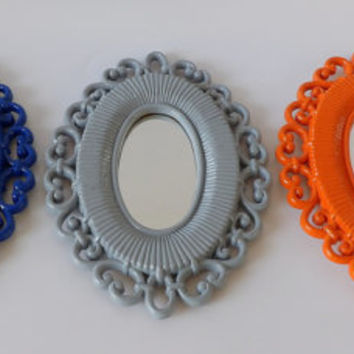 Small Oval Mirror Set of 3 Blue Orange Gray Wicker Frame Small Mid Century Modern Style Hanging Wall Mirrors Art Baby Nursery Bathroom Decor